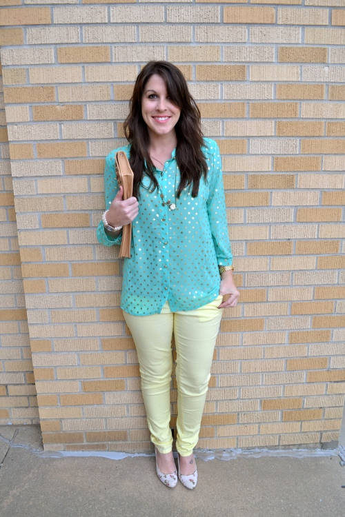 mint polka dot with yellow denim