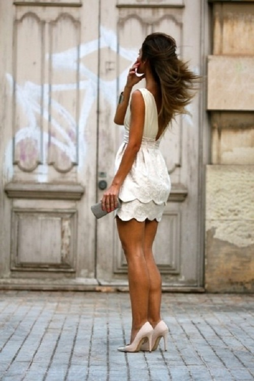 White Scallop Dress